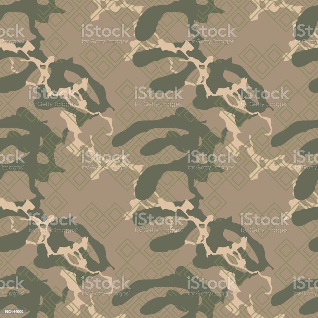 Militärische Tarnung Nahtlose Muster In Den Farben Grün, Beige Und Braun  Lizenzfreies Militärische Tarnung Nahtlose