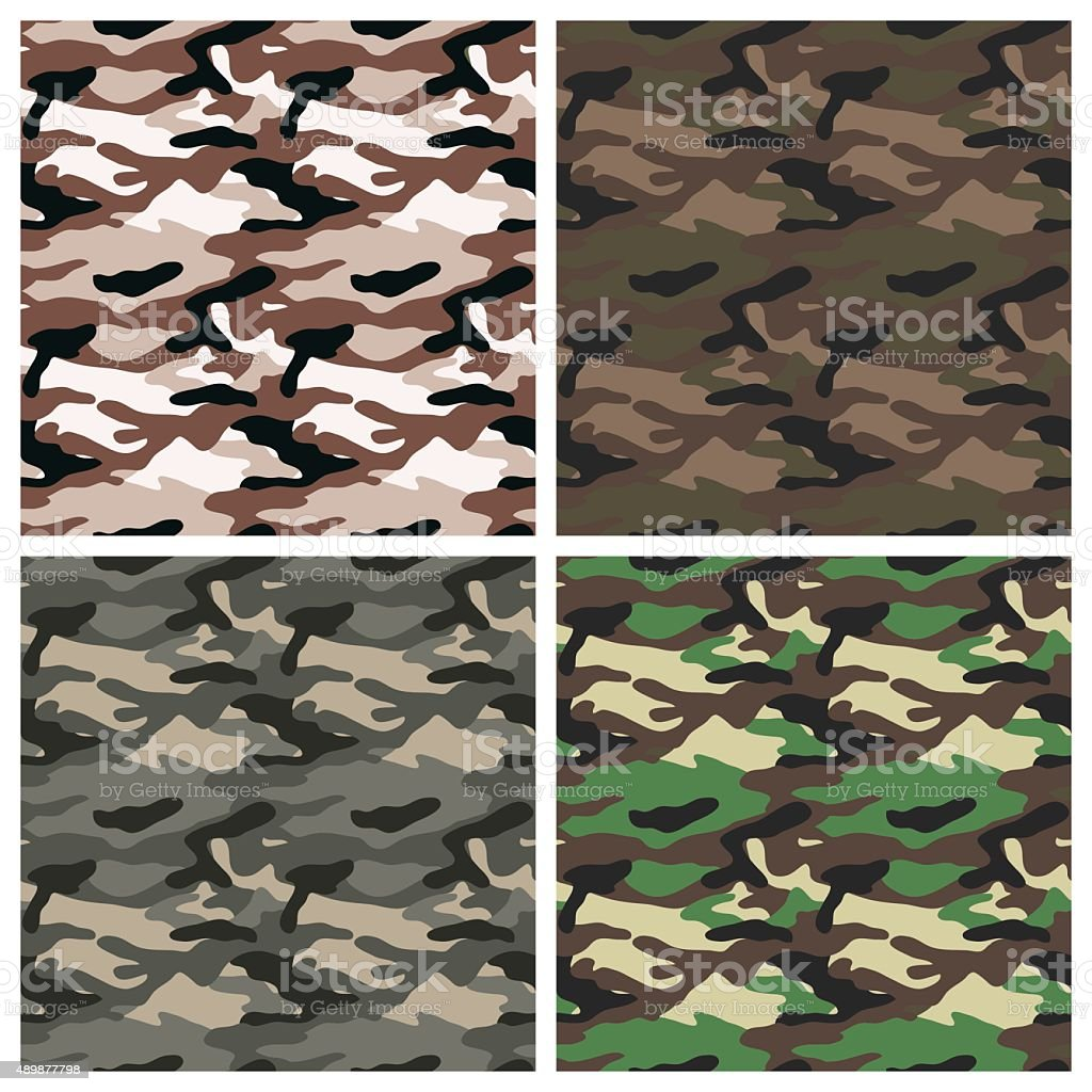 Military clothing camouflage seamless patterns vector art illustration