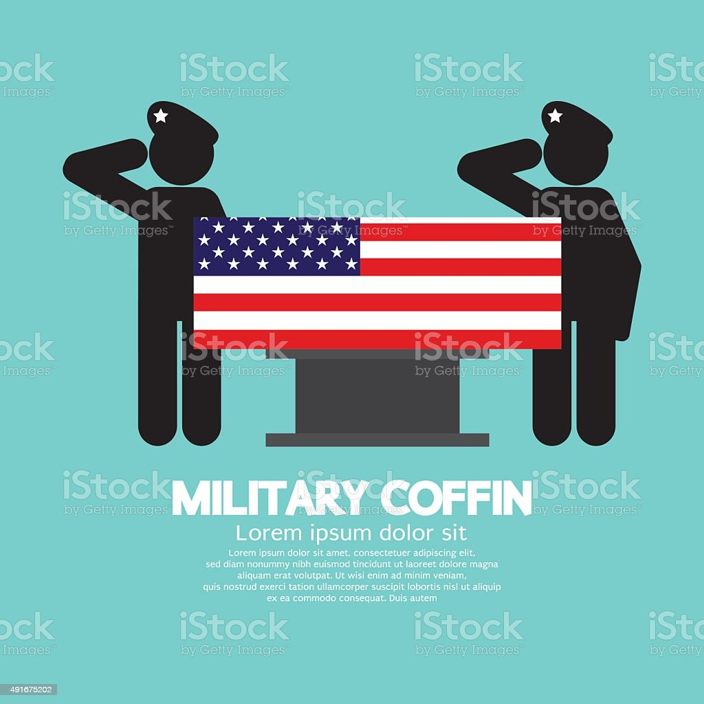 Military Coffin Funeral. vector art illustration