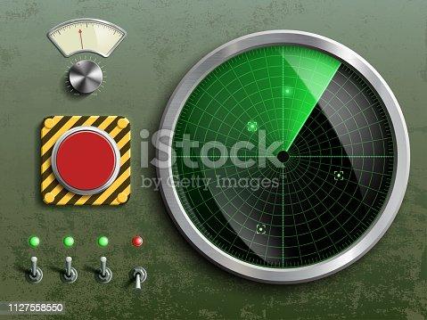 Military dashboard with radar, red button and switches. Vector illustration