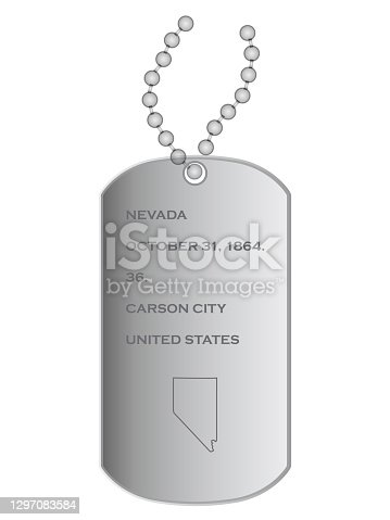 vector illustration of Military dogs tags with Map of US state of Nevada