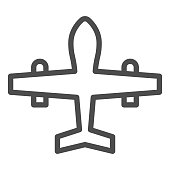 Military drone line icon. War aircraft, fighter reconnaissance plane symbol, outline style pictogram on white background. Warfare sign for mobile concept and web design. Vector graphics