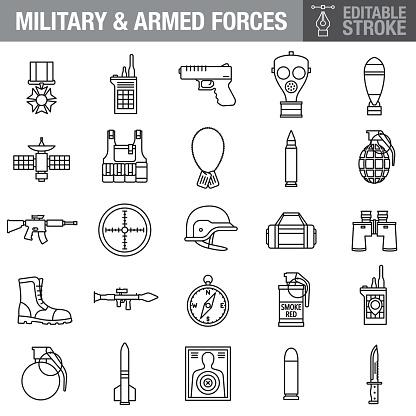 Military Editable Stroke Icon Set