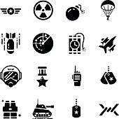 Military Equipment Accessories Vector Icon Set