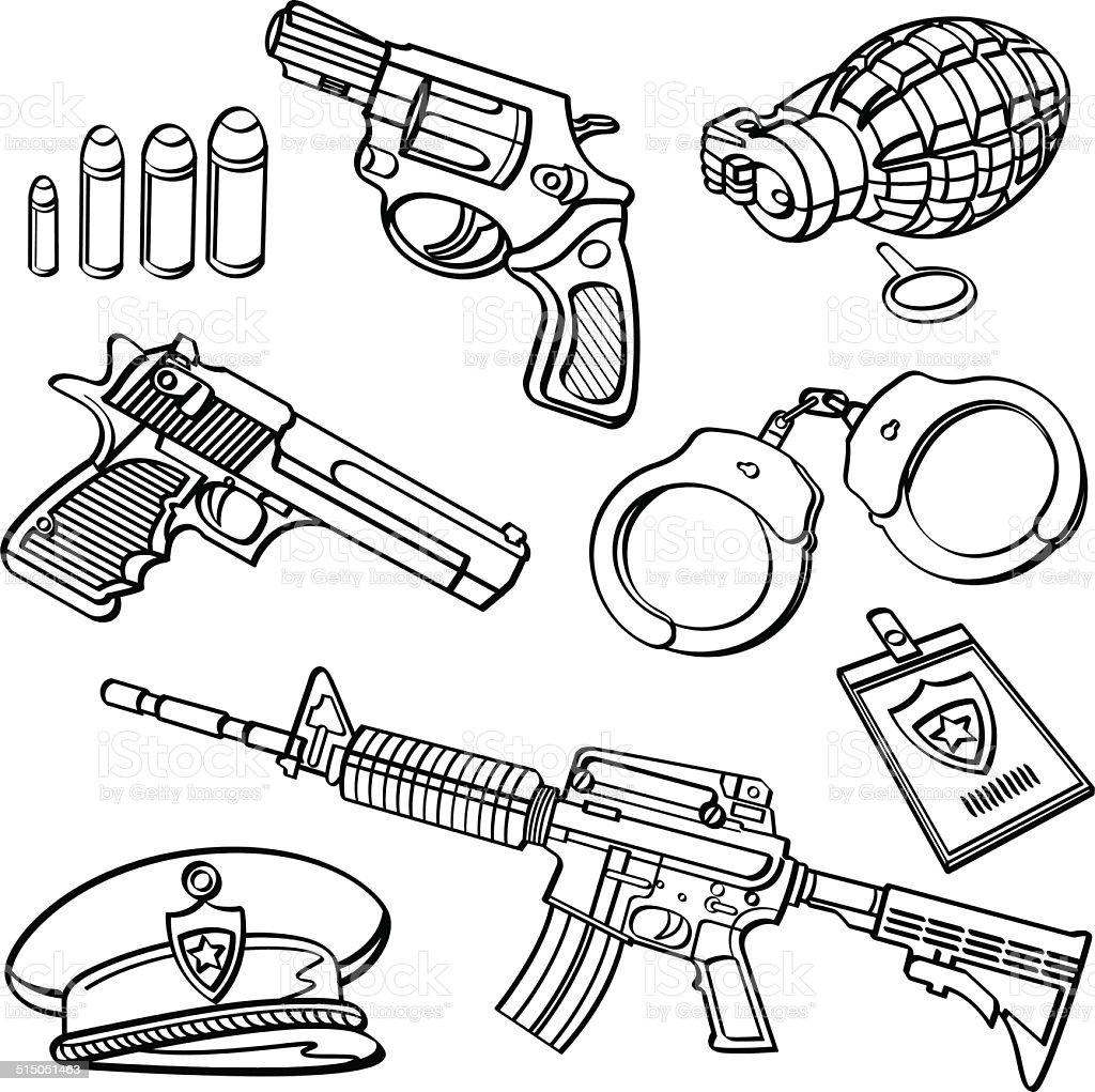 Coleção de Equipamentos Militares - ilustração de arte em vetor