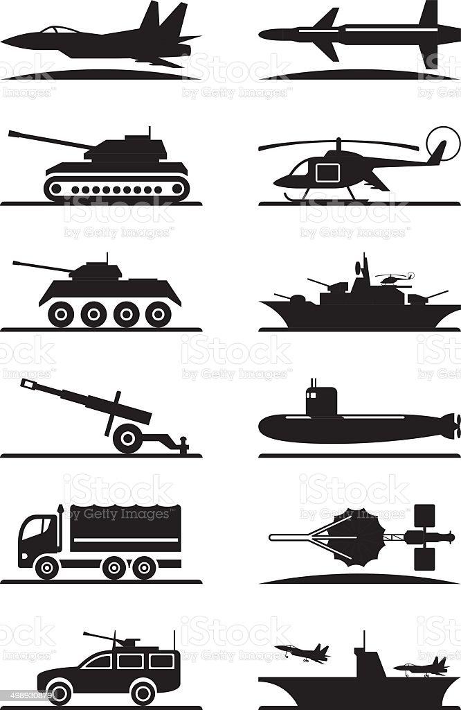 Military equipment icon set vector art illustration