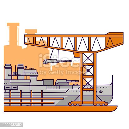 istock Military factory.Construction at the shipyard battleship with artillery towers. 1222932052