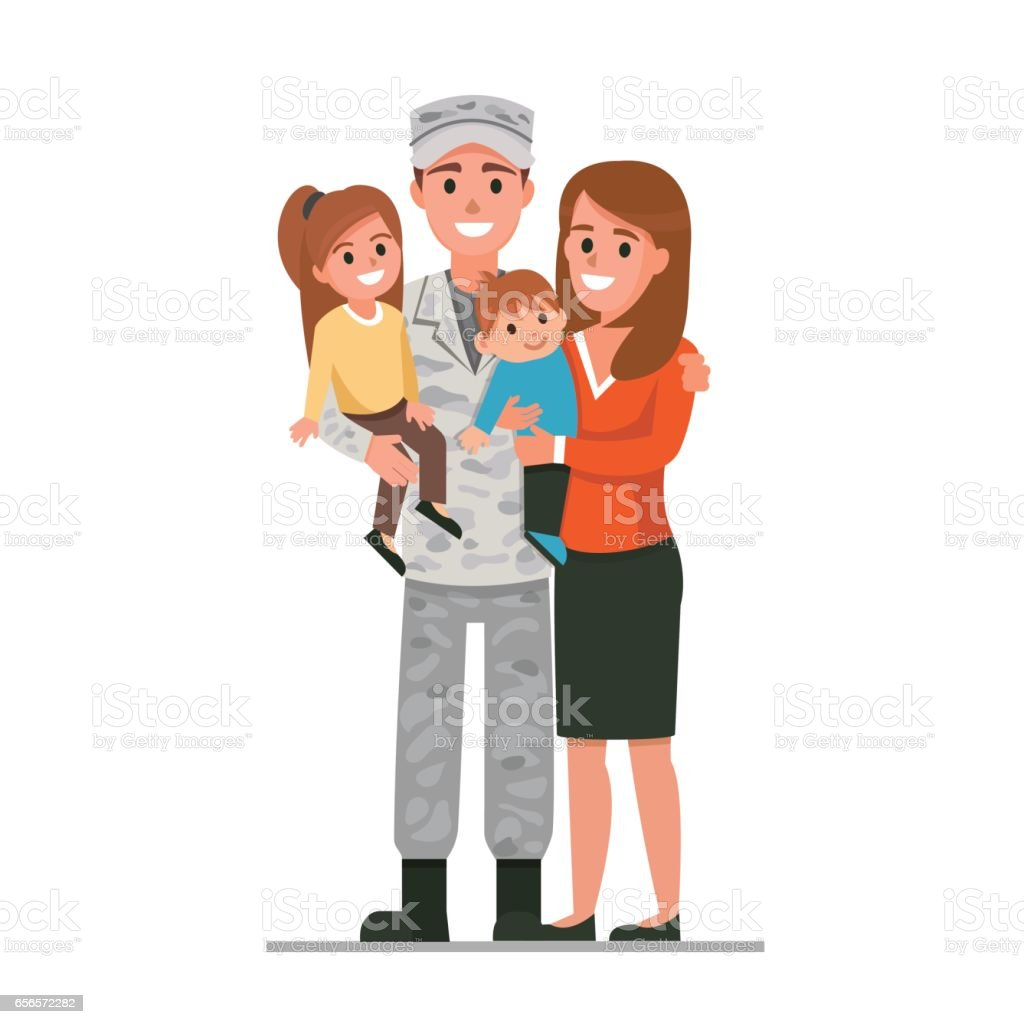Military family vector art illustration