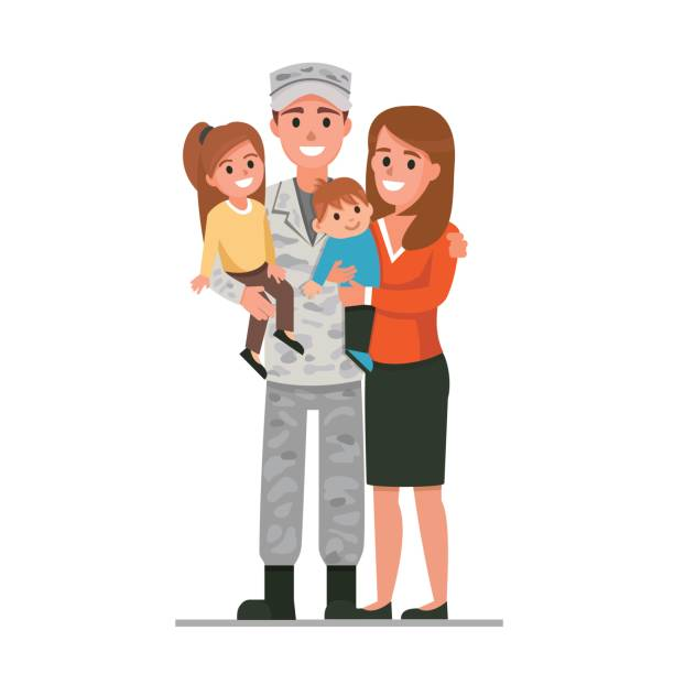 military family - army soldier stock illustrations, clip art, cartoons, & icons