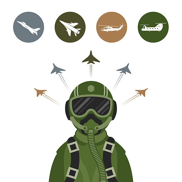 Military Fighter Jet Pilot with Military Aircraft Icons and Symbols air force stock illustrations