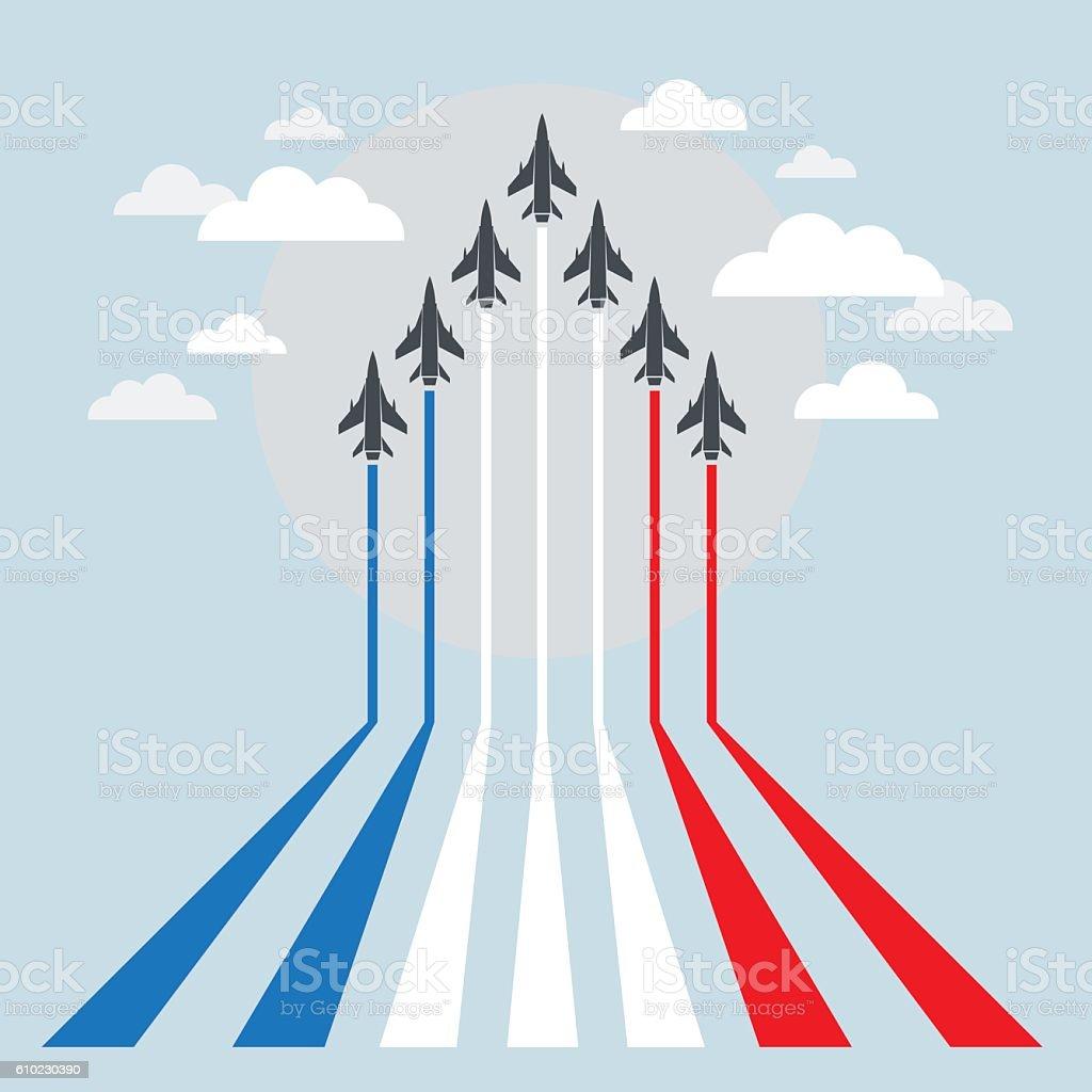 Military Fighter Jets during Demonstration vector art illustration