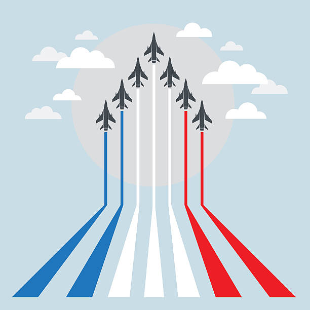 Military Fighter Jets during Demonstration Air Show, Aerobatic Flying military airplane stock illustrations