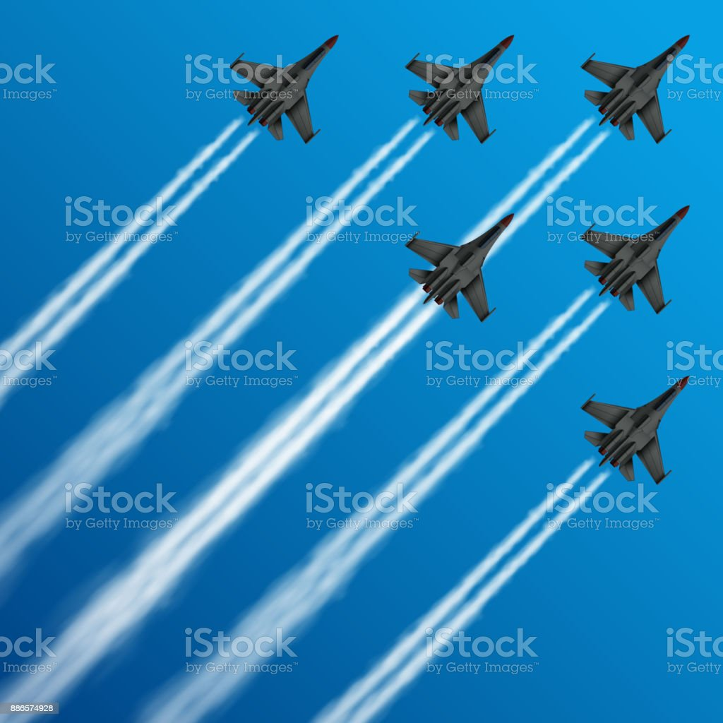 Military fighter jets with condensation trails in sky vector illustration vector art illustration