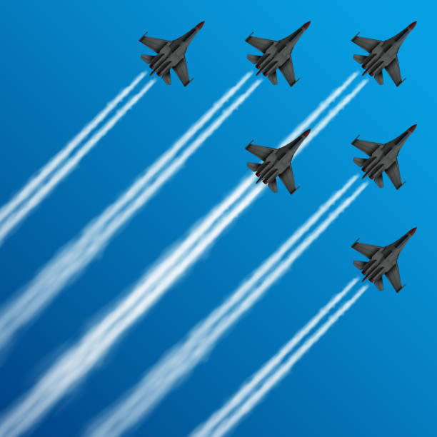 Military fighter jets with condensation trails in sky vector illustration Military fighter jets with condensation trails in sky vector illustration. air, plane, military, show, flight, trail, sky, performance, Airplane army, fighter on airshow air force stock illustrations