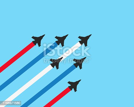 Vector illustration flat design of military fighter jets with trails on a blue background. Vector airplane show illustration