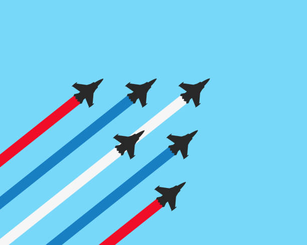 Military fighter jets with trails on a blue background. Vector airplane show illustration Vector illustration flat design of military fighter jets with trails on a blue background. Vector airplane show illustration fighter plane stock illustrations