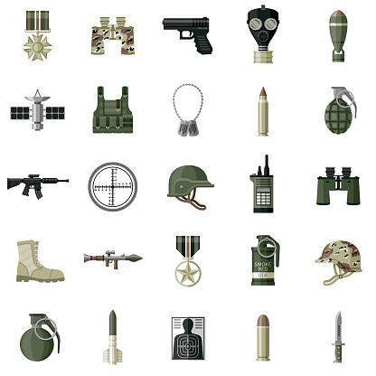 Military Flat Design Icon Set