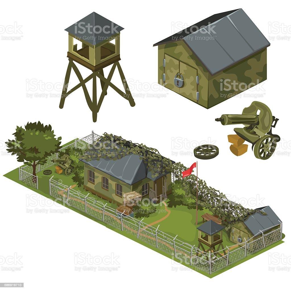 Military garrison, garage, tower and machine gun vector art illustration