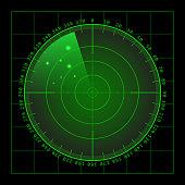 Military green radar screen with target. Futuristic HUD interface. Stock vector illustration