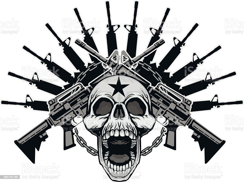 military grunge skull coat of arms vector art illustration