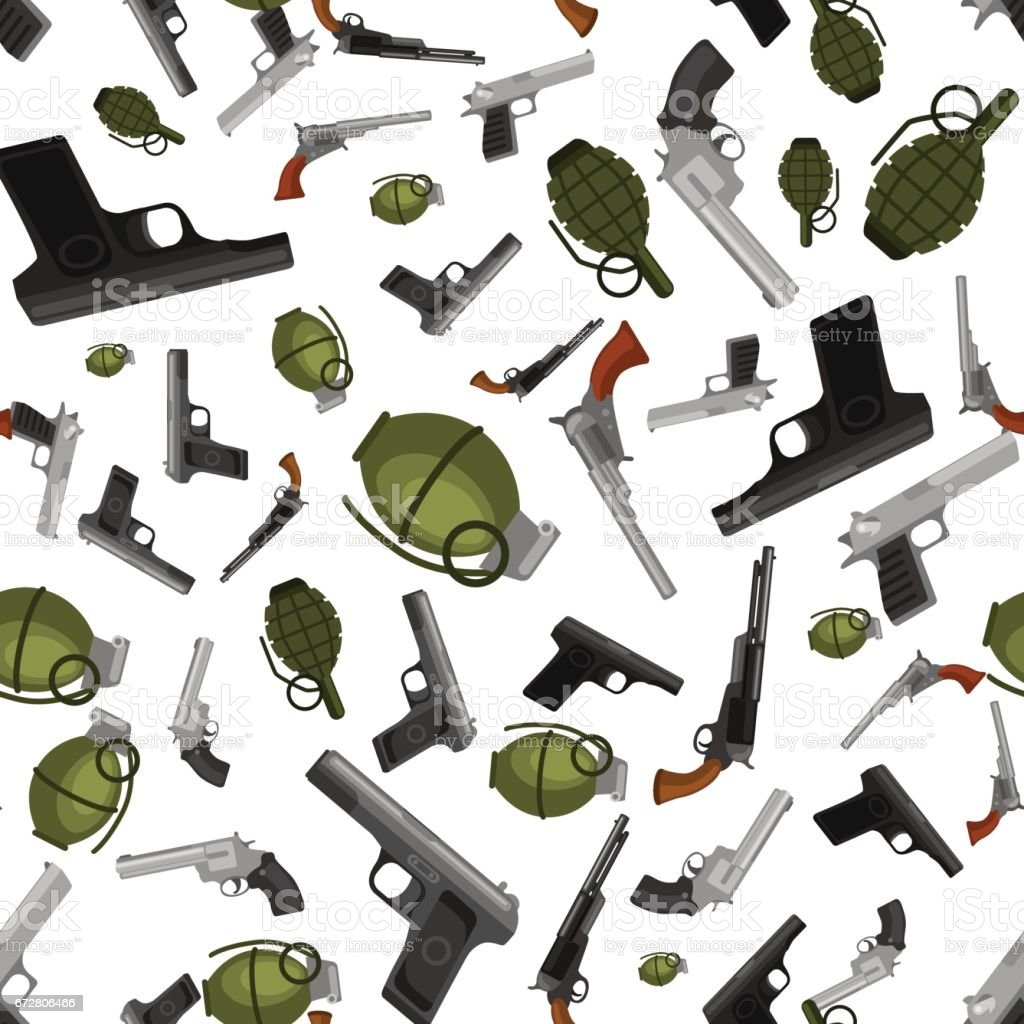 Military Gun Seamless Pattern Automatic And Hand Weapon In