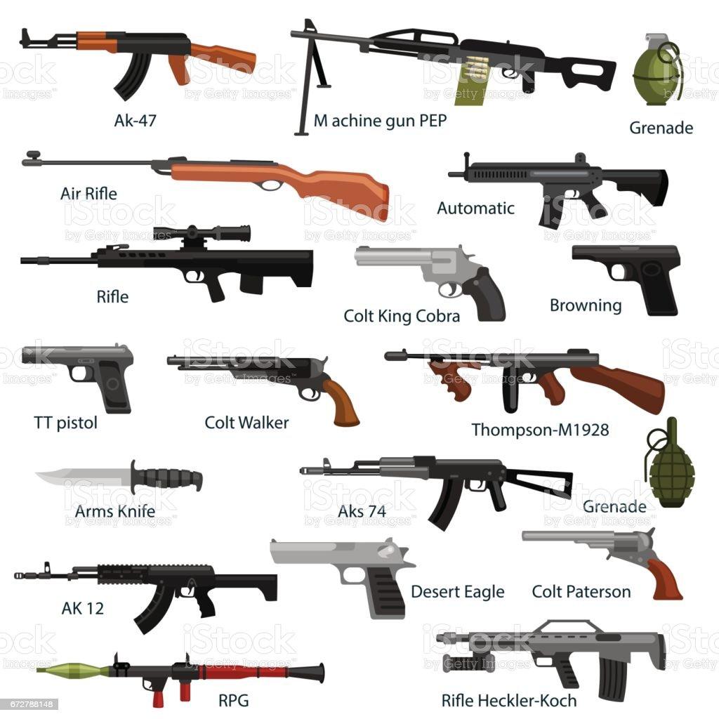 pistola militar definida, automática y arma en revista barril con balas para protección shoting y guerra colección, arma de fuego para el equipo de caza, Ilustración de vector de fondo de municiones a mano - ilustración de arte vectorial