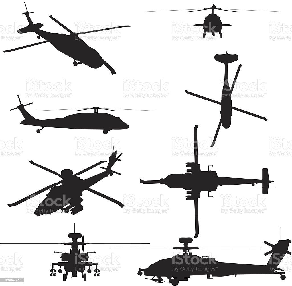 Military Helicopter Silhouette Collection (vector+jpg) vector art illustration