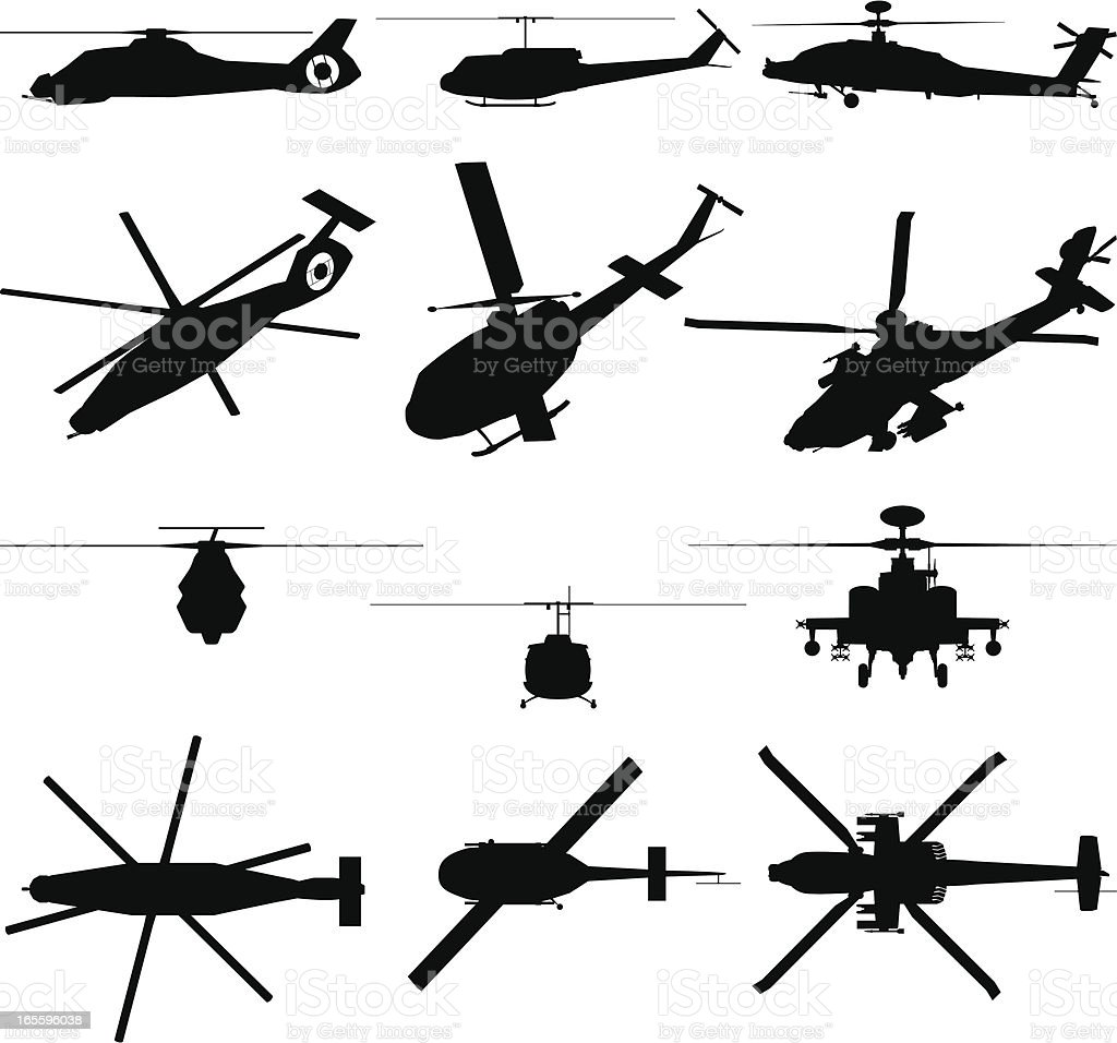 Military Helicopter Silhouette royalty-free military helicopter silhouette stock vector art & more images of aerial dogfight