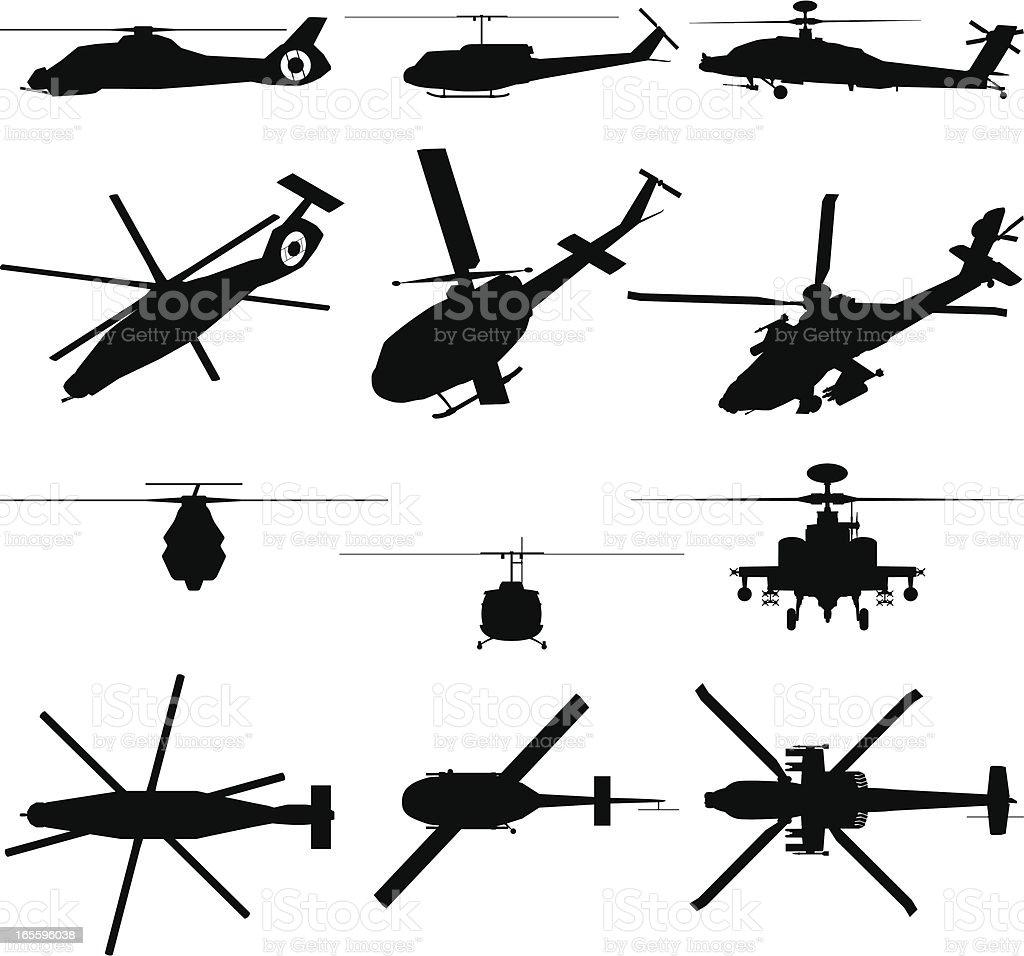 Helicóptero militar silueta ilustración de helicóptero militar silueta y más banco de imágenes de ala de avión libre de derechos