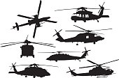 Vector silhouette of a group of military helicopters.