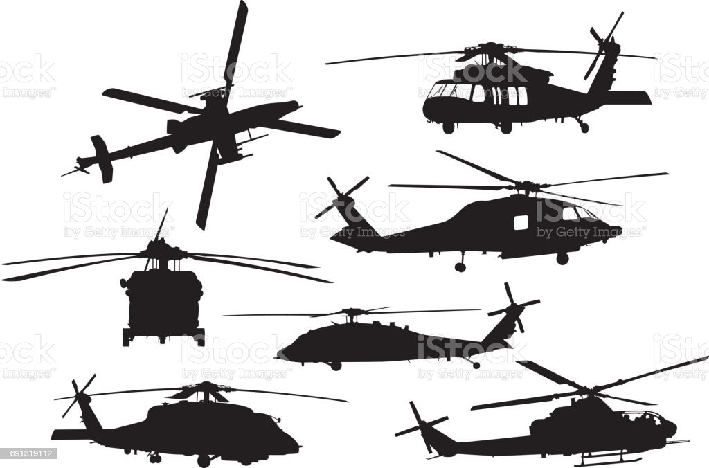 Military Helicopter Silhouettes vector art illustration