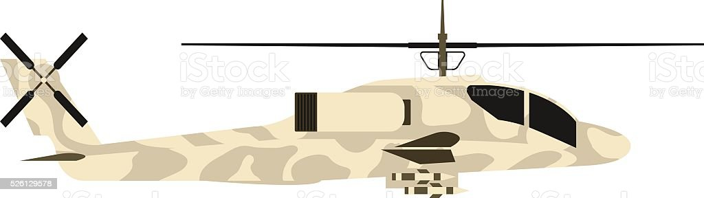 Military helicopter UH-60 hawk flat render air transportation army vector art illustration