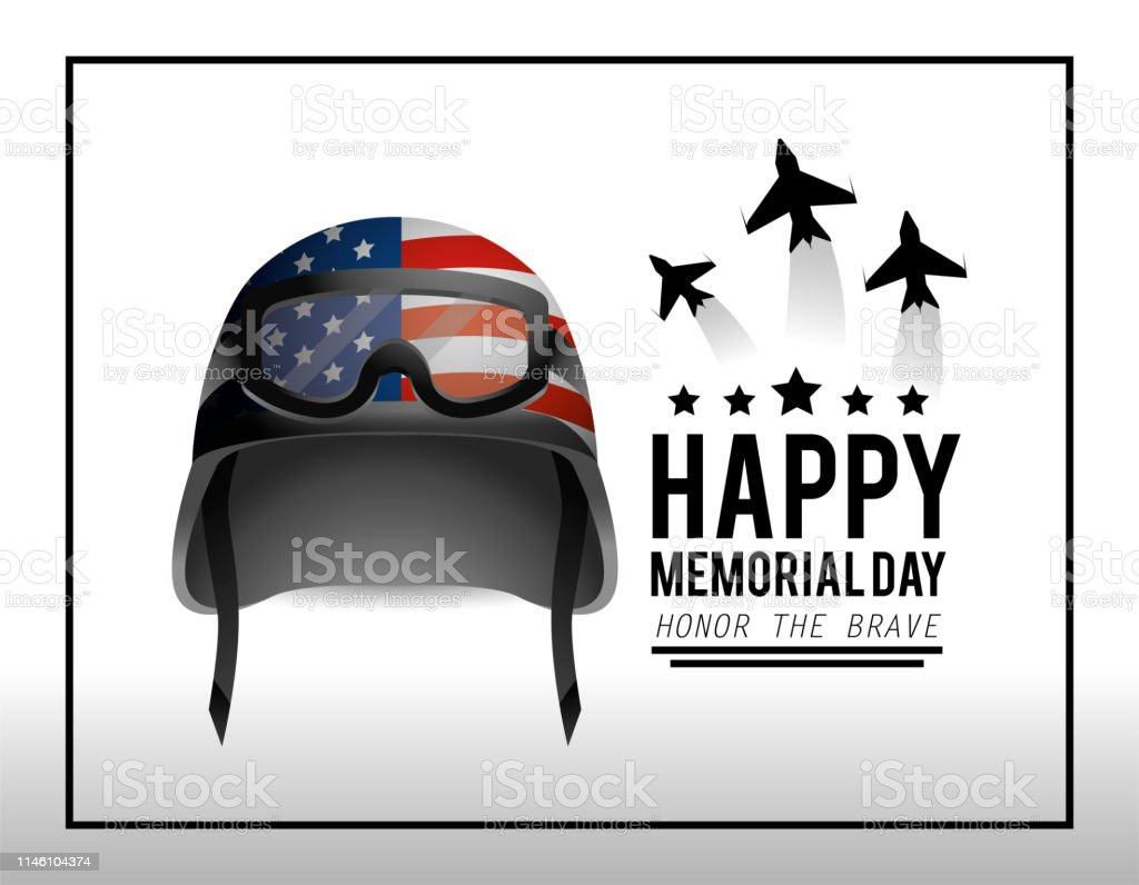 Military Helmet And Airplanes To Memorial Day Stock Illustration
