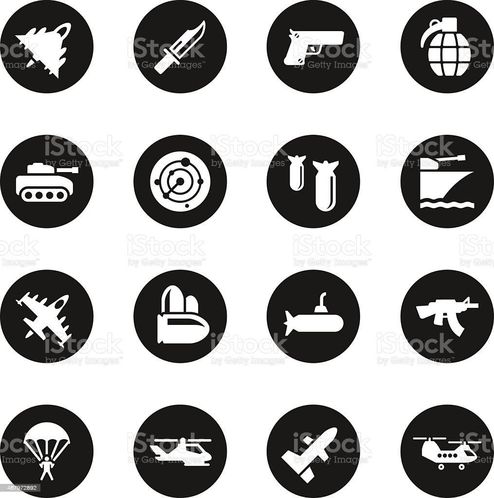 Military Icons - Black Circle Series vector art illustration
