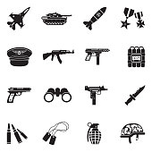 Military Icons. Black Flat Design. Vector Illustration.
