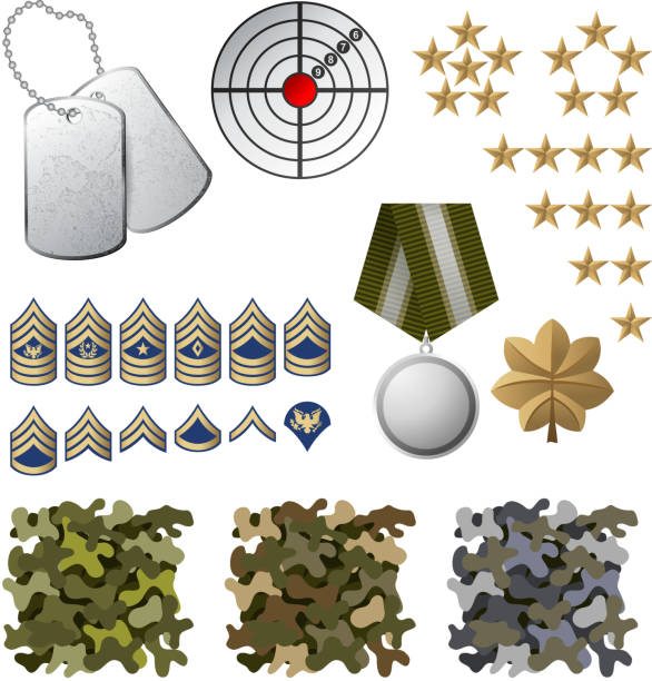 Military icons including camouflage and dog tags Military icons and design elements. EPS 10. File contains transparences!  major military rank stock illustrations