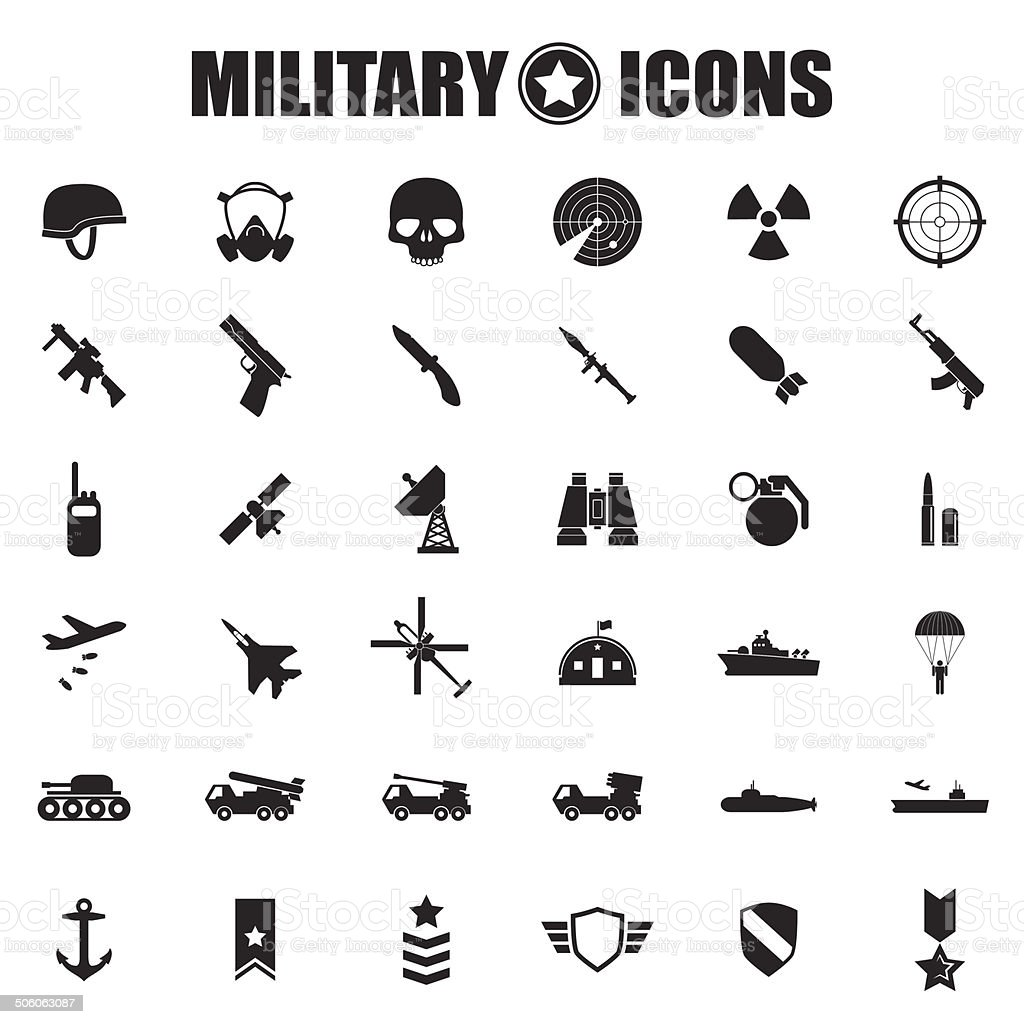 Military icons set vector art illustration