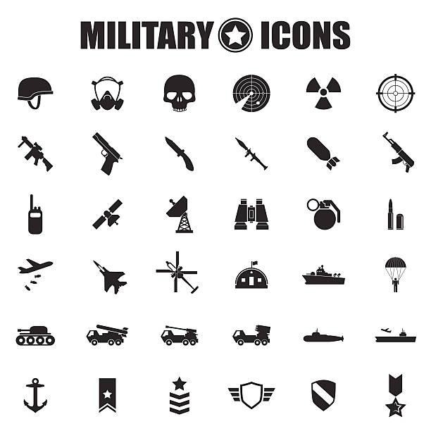 ilustrações, clipart, desenhos animados e ícones de conjunto de ícones militar - forças armadas