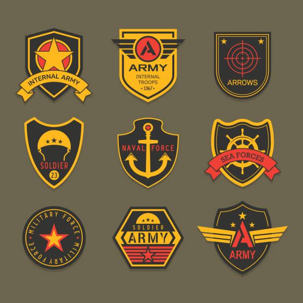 stockillustraties, clipart, cartoons en iconen met militaire insigne of leger badge, amerikaanse soldaat - patchwork
