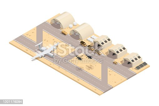 Colored military isometric composition in beige colors with runway great location for a military base vector illustration