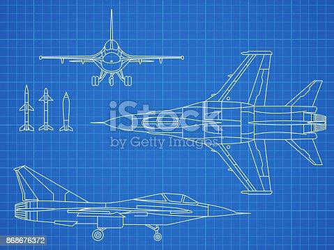 istock Military jet aircraft drawing vector blueprint design 868676372