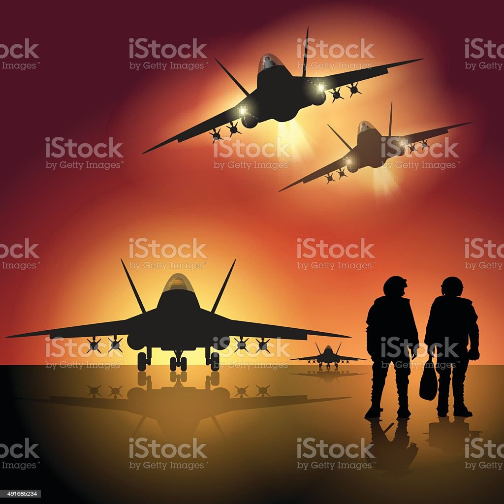 Military jet on the runway vector art illustration