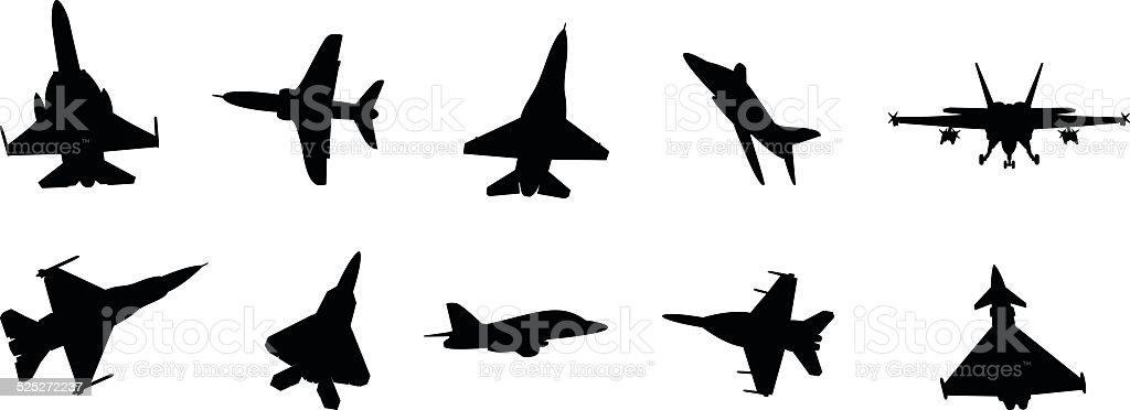 military jets vector art illustration