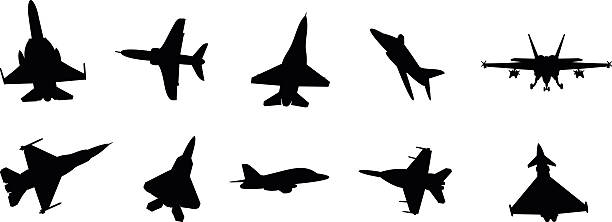 military jets vector art illustration
