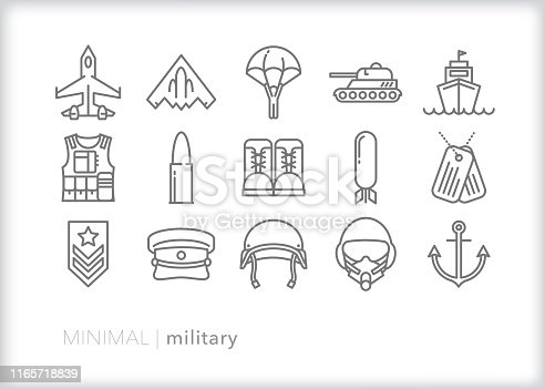 Set of 15 military line icons of army, navy, marines and air force equipment, machinery, gear and weapons