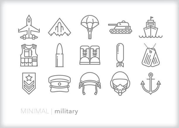 Military line icon set representing American army, navy and air force Set of 15 military line icons of army, navy, marines and air force equipment, machinery, gear and weapons air force stock illustrations