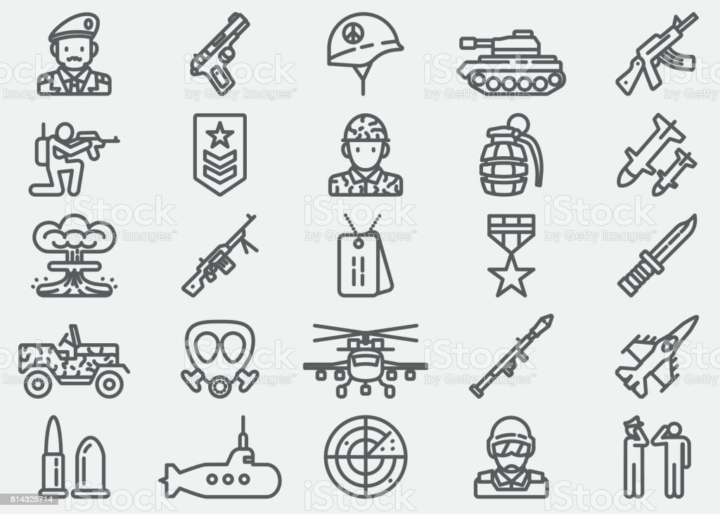 Military Line Icons vector art illustration