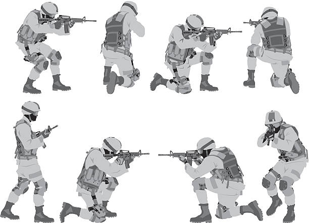 military man in various poses - army soldier stock illustrations, clip art, cartoons, & icons