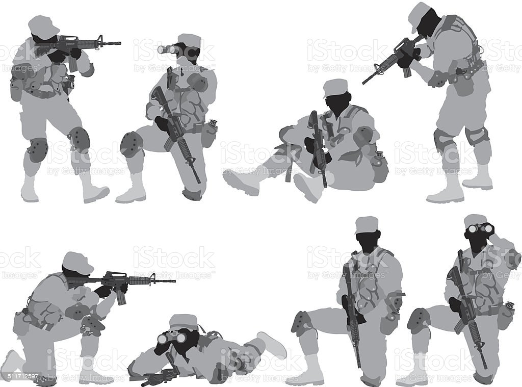 Military man in various poses vector art illustration