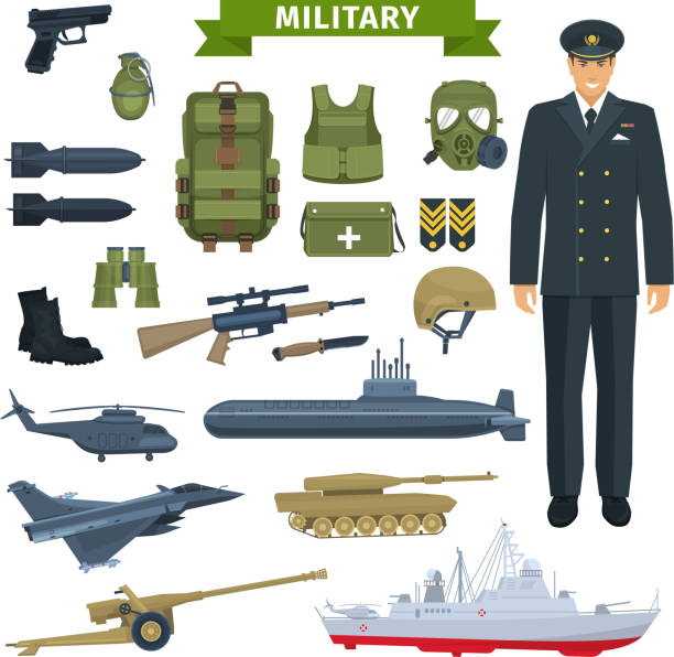 Military man with weapon, personal equipment icon Officer with weapon, transportation, personal equipment icon set. Gun and rifle, grenade, helmet and boots, armour and backpack, knife, tank, airplane and helicopter, submarine and warship air force stock illustrations